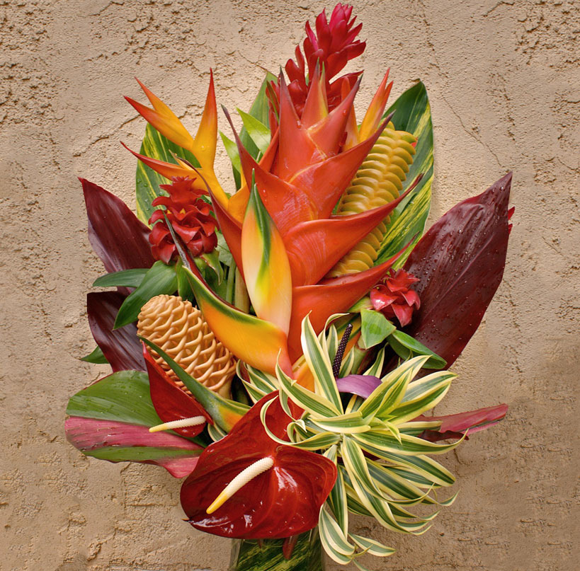 the hanalei tropical flower arrangement, like a dramatic sunset, Natural flower