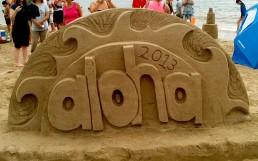 Aloha Sand art sign from Hanalei Sand Art Festival 2013
