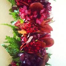 Lei by Happy Tamanaha, with Lehua buds, liko lehua, a'ali'i, chrysanthemum, palapalai