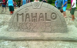 Mahalo Sign Made from Sand on Kauai