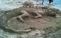 Sleeping Dragon Carved out of Sand