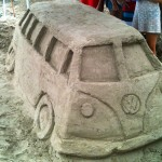 Classic Volkswagen Van made from sand on Kauai