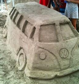 Classic Volkswagen Van made from sand on Kauai