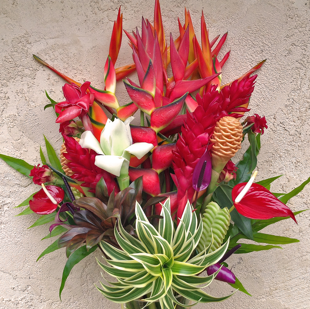 Best of kauai tropical flower arrangement features lots for Biggest bouquet of flowers