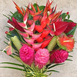 A 45 piece arrangement with 30 flowers and 15 foliage.